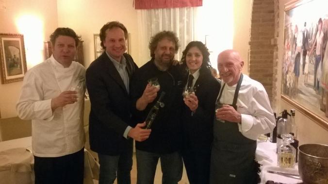 Lo chef Giancarlo Polito, Andrea Gradassi, Davide Di Corato,  Sara Polidori, Fausto Arrighi.